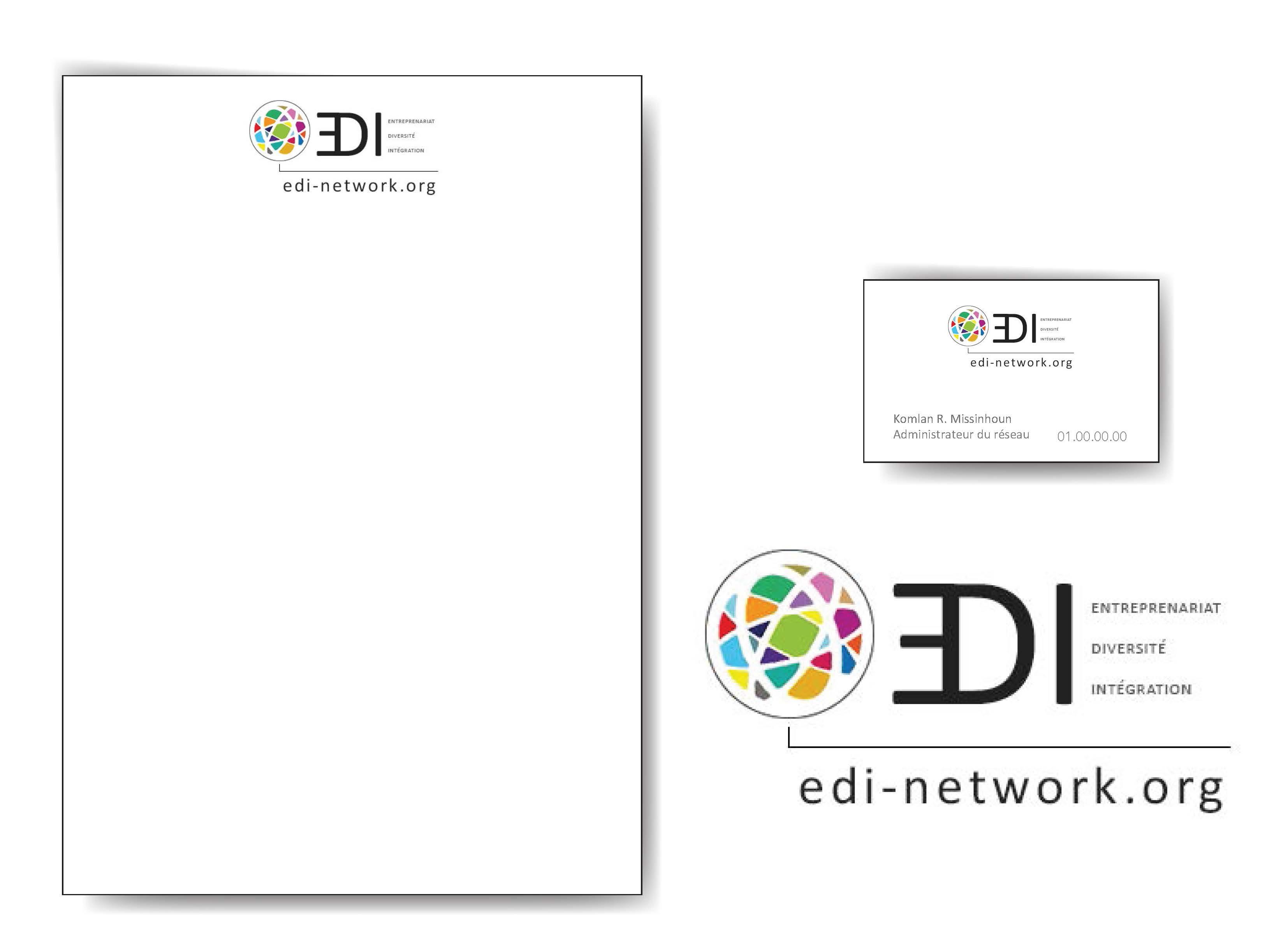 Mise en situation du logo edi et papeterie