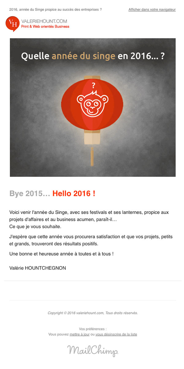 2016 Année du Singe, Meilleurs voeux de valeriehount.com